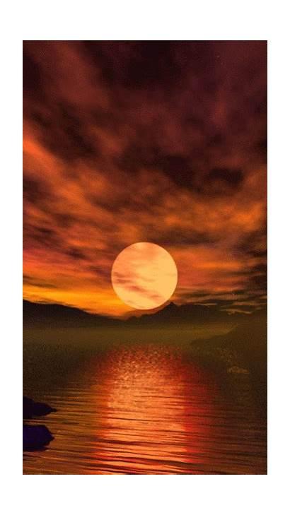 Gifs Sunset Lake Reflection Moon Amazing Nature