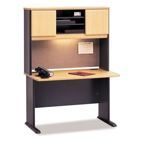 gray desk with hutch bush business series a 48 quot wood credenza with hutch in