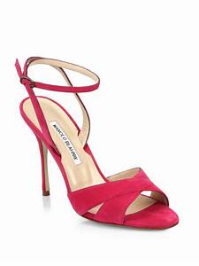 Lyst - Manolo blahnik Orlana Suede Ankle-Strap Sandals in Pink
