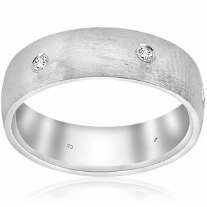 brushed diamond white gold wedding ring mens womens band With mens wedding rings brushed white gold