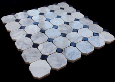 Bianco Carrara White Marble  Octagon Polished Mosaic Tile