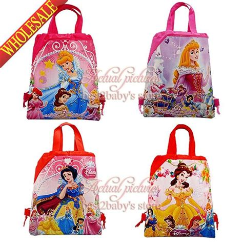 lovely 4pcs princess frozen snow white drawstring backpack bag children shool backpack