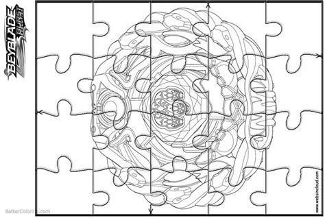 Beyblade Burst Coloring Pages Puzzle Template
