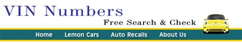 Vin Number Recalls by Vin Numbers Free Vin Number Search Check