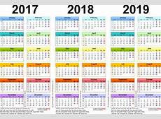 3 Year Calendar 2017 To 2019 To Print For Free Free