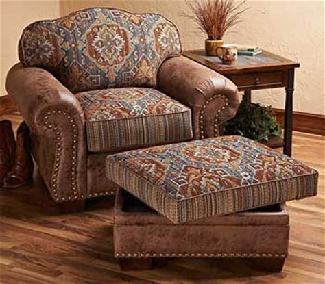 southwest cherokee upholstered chair ottoman wild