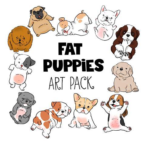 fat puppies clip art digital files   printables