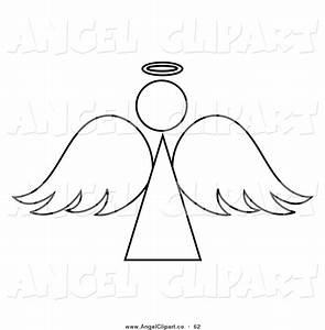 Clip Art of a Black and White Angel Outline Design by Pams ...