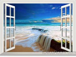Beach tide ocean cloud blue sky d window view wall decals