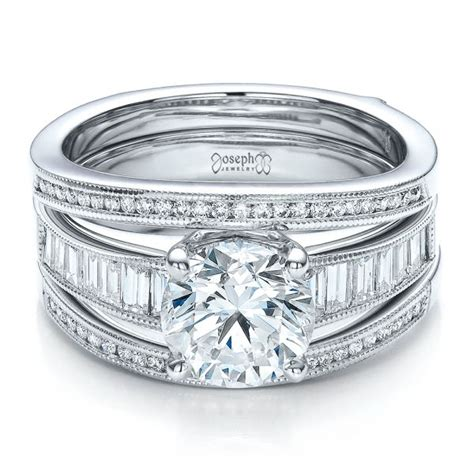 custom baguette channel engagement ring with jacket 100053 seattle bellevue joseph jewelry