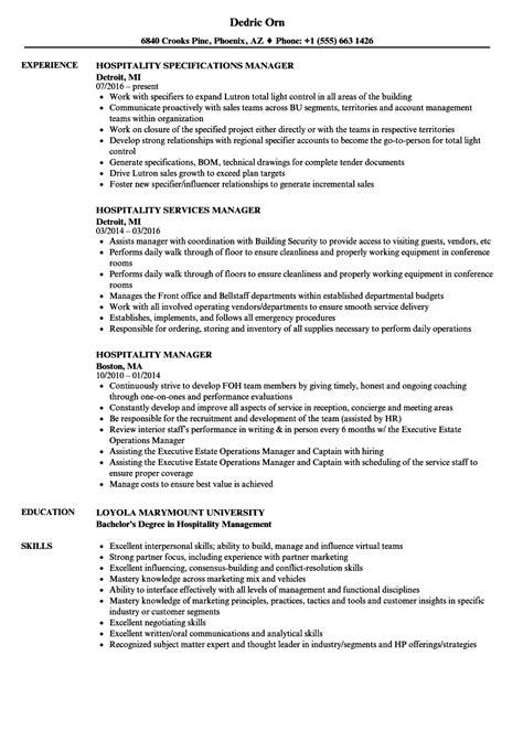 hospitality management resume talktomartyb