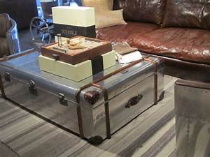 small living room spaces with silver trunk coffee table With silver chest coffee table