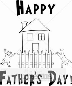 Happy Father's Day with Happy Children and House with ...