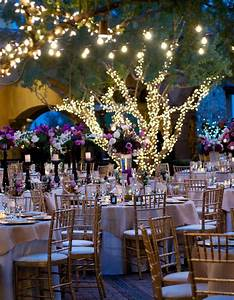 Outdoor garden wedding reception in evening for Outdoor wedding reception lighting