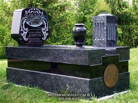 granite headstone and bronze emblem with custom