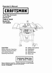 Craftsman 137 248830 Operator S Manual