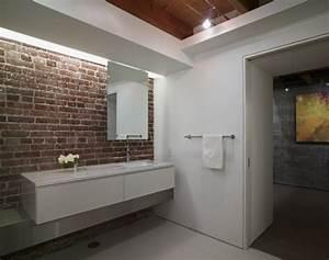 des salles de bain avec un mur en briques bricobistro With salle de bain briquette