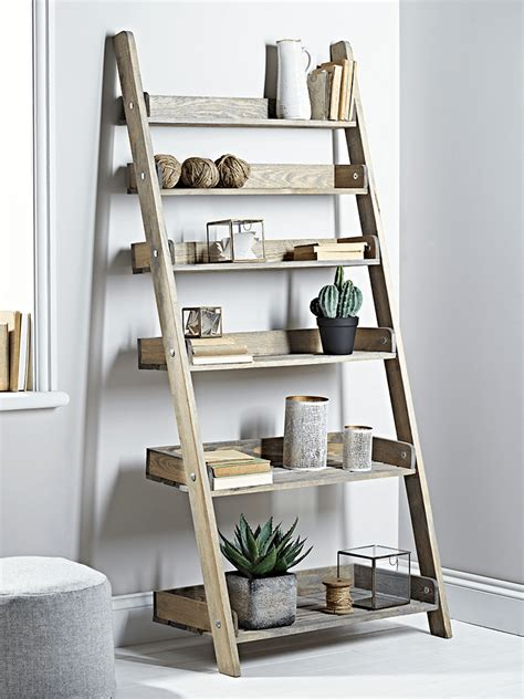 rustic wooden ladder shelf