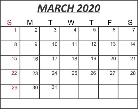 march  printable calendar template   excel