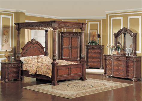 canopy master bed cherry  marble top  pc set