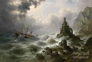 Stormy Sea With Lighthouse On The Coast Painting by