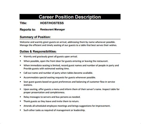 Hostess Job Description Template  10+ Free Word, Pdf. Resume Examples For Administrative Assistant. Oracle Project Manager Resume. 911 Dispatcher Resume. Example Of Core Competencies In Resume. Resume For Hotel Front Desk. Cover Letters And Resumes Com. Sample Resume Word. Resume How To Do