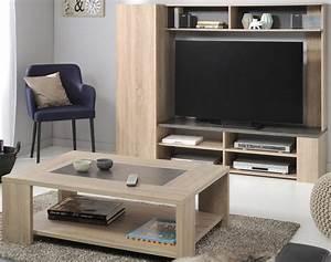 Wohnzimmer Fumio 4 Eiche Natur Nachbildung Steinoptik TV
