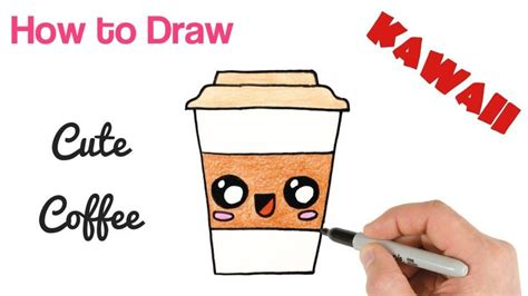 These 24 kawaii cat stickers are perfect for any cat and coffee lover in your life! How to Draw a Cute Coffee Drink Super Easy | Kawaii drawings, Cute kawaii drawings, Cute drawings