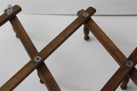 vintage wood mug rack accordion folding wall hanger  pegs