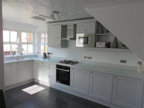 light grey beaded shaker kitchen  gallery fitted kitchens kford