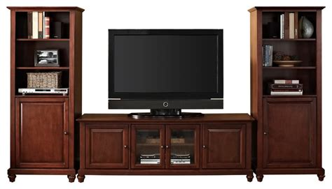 low profile media cabinet cambridge 60 quot low profile tv stand and two 60 quot audio piers