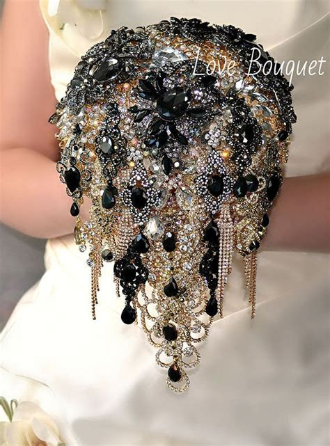 Black Brooch Bouquet Cascading Black And Gold By