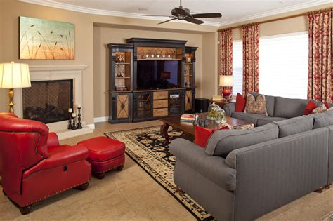 red and grey sofa shocking basement design ideas with good furniture also
