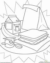 Healthy Lunch Coloring Pages Worksheet Lunches Worksheets Kindergarten Cafeteria Education Sandwich Sheet Learning Packed Template Printable sketch template
