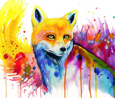 fox watercolor painting  pixie cold