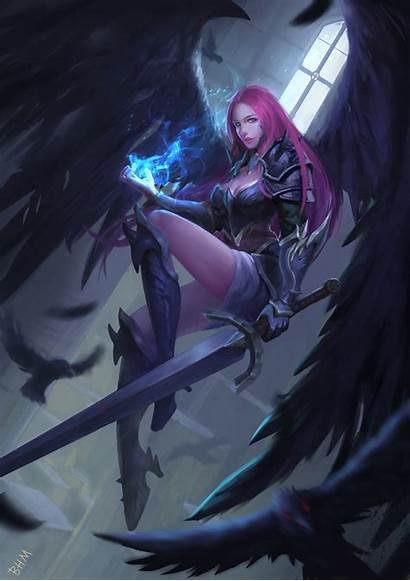 Angel Sword Fantasy Warrior Female Holding Magic