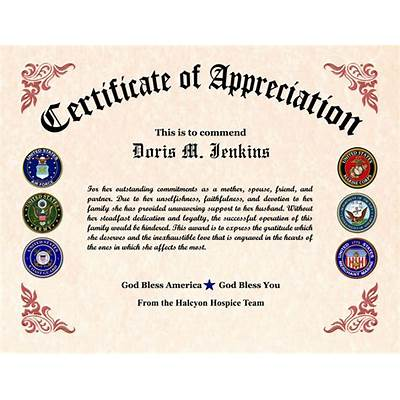 ten veterans appreciation certificate template