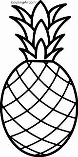 Pineapple Simple Outline Coloring Fruit Stencil Drawing Printable Ananas Colorir Abacaxi Desenho Coloringall Hawaiian Printables Crafts Brinquedos Papel sketch template