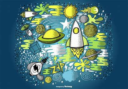 Space Drawn Elements Hand Vector Clipart Non