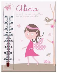 cadre thermometre princesse des elfes rose et taupe 100 With déco chambre bébé pas cher avec thermometre fleur beaba