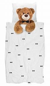 200 Cm Teddy : parure de lit 1 personne teddy 140 x 200 cm ourson snurk ~ Frokenaadalensverden.com Haus und Dekorationen