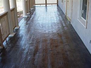 Wood Plank Stamped/Stained Concrete Porch - Traditional