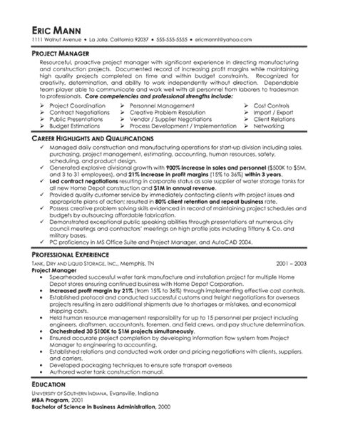 Sle Resume Summary Statements For Project Manager by Manufacturing Project Manager Resume Resume Exles