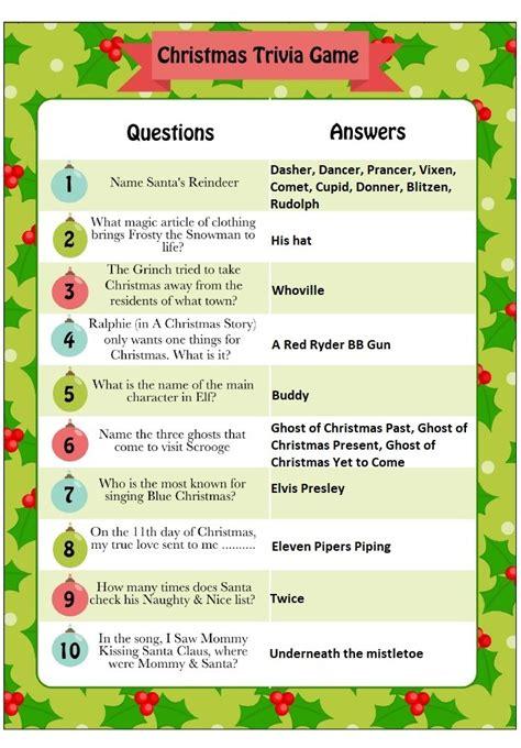 printable christmas trivia quiz questions  answers