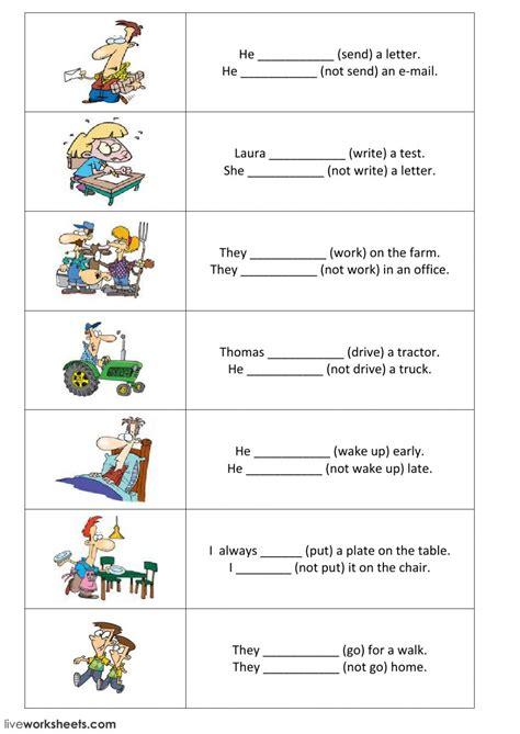 present simple positive  negative sentences part