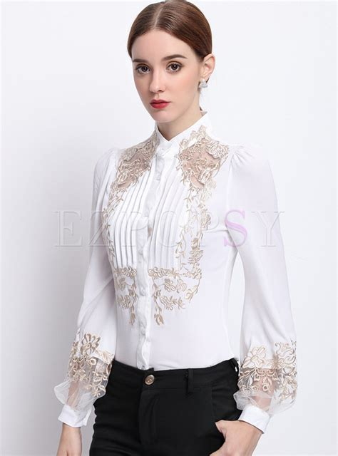 lace collar blouse fashion lace embroidered stand collar blouse ezpopsy com