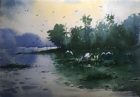 mirror wall decor watercolor painting at powai lake 02 by artist prashant