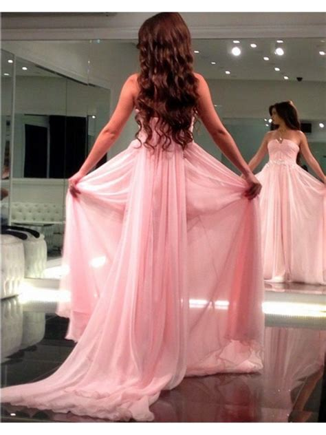 Long Pink Chiffon Prom Formal Evening Party Dresses ...