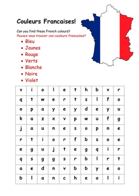 french colours wordsearch  rosiefrancesca teaching