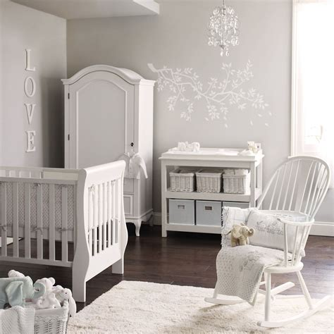 white company elephant nursery all grey and